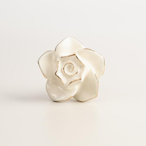 Ivory Ceramic Rose Knobs, Set of 2