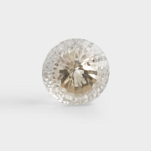 Clear Glass Solid Knobs, Set of 2