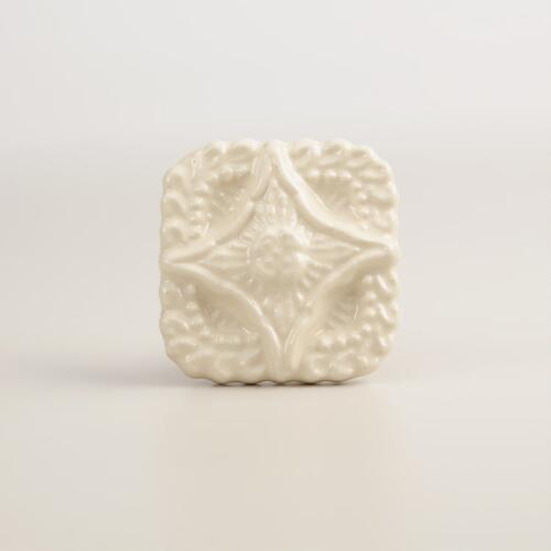 Square Ivory Ceramic Embossed Knobs, Set of 2