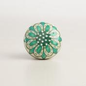 Teal Painted Ceramic Knobs, Set of 2