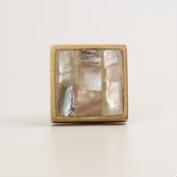 Square Mother of Pearl Knobs, Set of 2