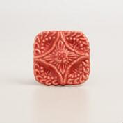Square Coral Embossed Ceramic Knobs, Set of 2
