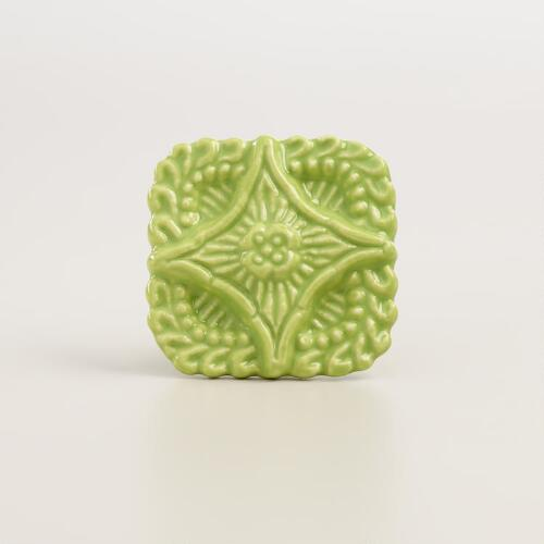 Square Green Embossed Ceramic Knobs, Set of 2