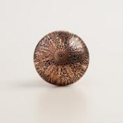 Copper Engraved Metal Knobs, Set of 2