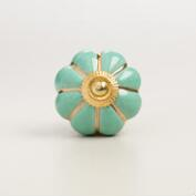 Teal and Gold Melon Ceramic Knobs, Set of 2