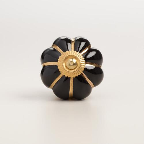 Black and Gold Melon Ceramic Knobs, Set of 2