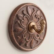 Copper Medallion Ceramic Hooks, Set of 2