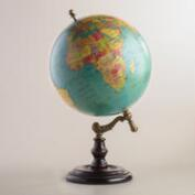 Blue Globe on Wood Stand