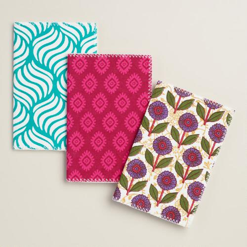 Fabric Notebooks, Set of 3