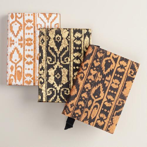 Metallic Ikat Leather Notebooks, Set of 3