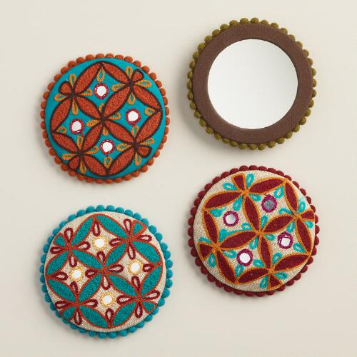 Embroidered Pocket Mirrors, Set of 4