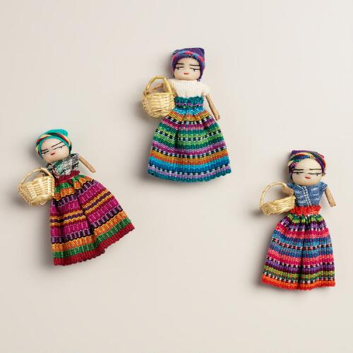 Large Worry Doll Magnets, Set of 2