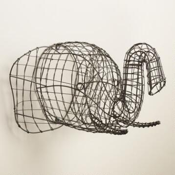 Gray Wire Elephant Bust