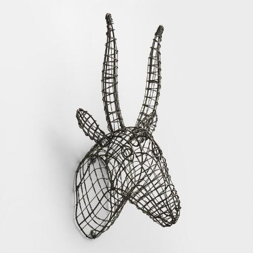 Gray Wire Antelope Bust