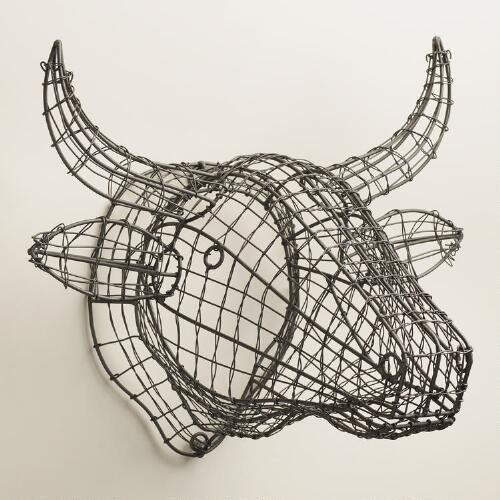 Gray Wire Bull Bust