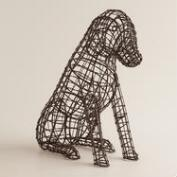 Wire Sitting Dog Figure