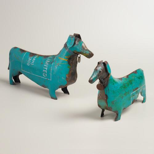 Recycled Metal Dog Figure