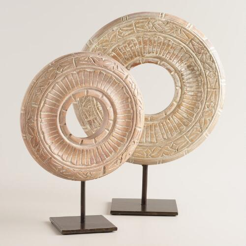 Hand-Carved Wood Disc on Stand
