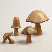Carved Wood Mushroom Decor