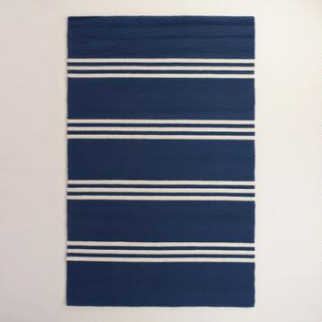 Maritime Blue Hooked Area Rug