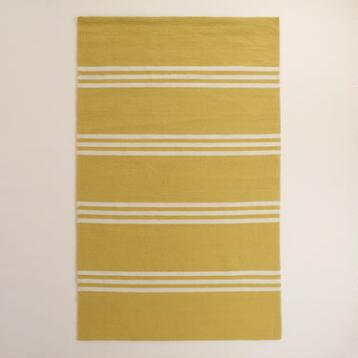 Lemon Yellow Hooked Indoor Outdoor Area Rug
