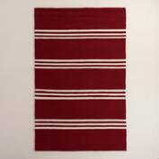 Vivid Red Hooked Area Rug