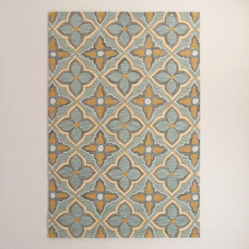 Costa Brava Gold Hooked Area Rug