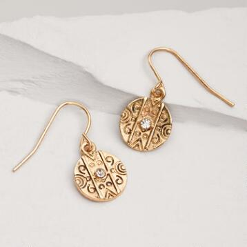 Antique Gold Etched Round Drop Earrings