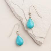 Turquoise and Silver Wire Drop Earrings