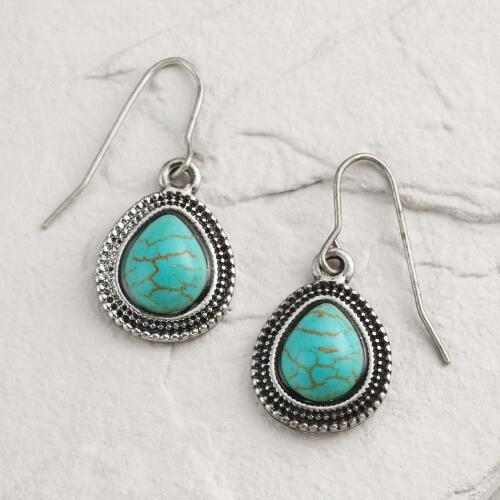 Silver Turquoise Etched Teardrop Earrings