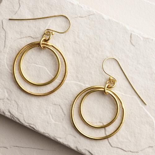 Gold Duara Double Drop Hoop Earrings