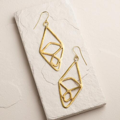 Gold Diamond Large Drop Earrings