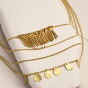 Gold Coin 3-Layer Drop Necklace