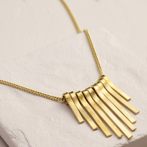 Gold Sunburst Spoke Pendant Necklace