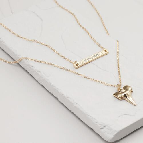 Gold Bar and Shark Tooth Necklaces, Set of 2