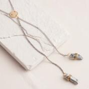 Silver and Quartz Double Lariat Necklace