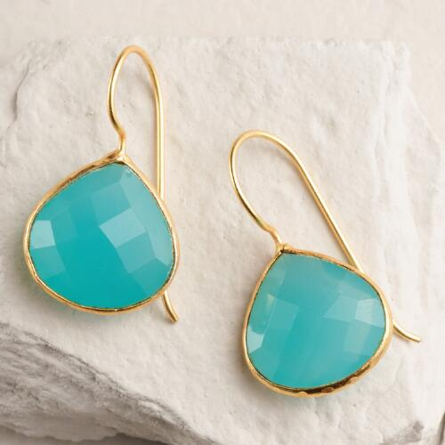 Gold Rimmed Green Stone Teardrop Earrings