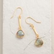 Gold and Labradorite Linear Teardrop Earrings