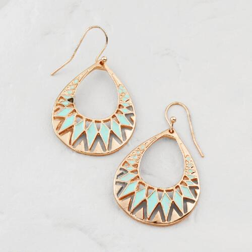 Gold and Green Cutout Teardrop Earrings