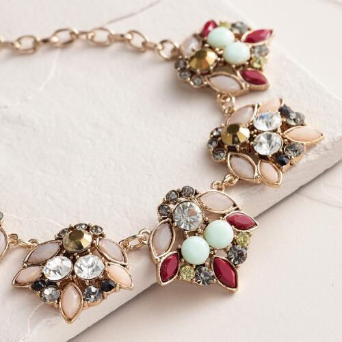 Antique Gold and Glass Stone Statement Necklace