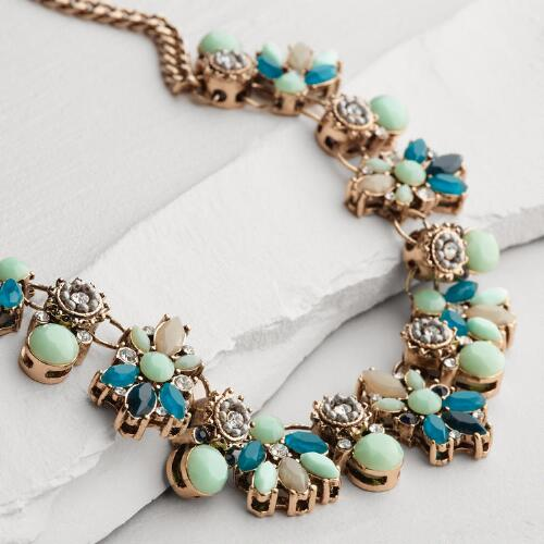 Gold and Turquoise Tonal Jewel Statement Necklace