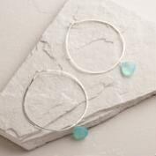 Silver Aqua Chalcedony Large Hoop Earrings