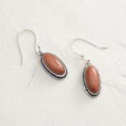 Silver Orange Stone Oval Drop Earrings