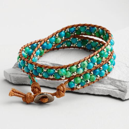 Mint Green Bead Wrap Bracelet