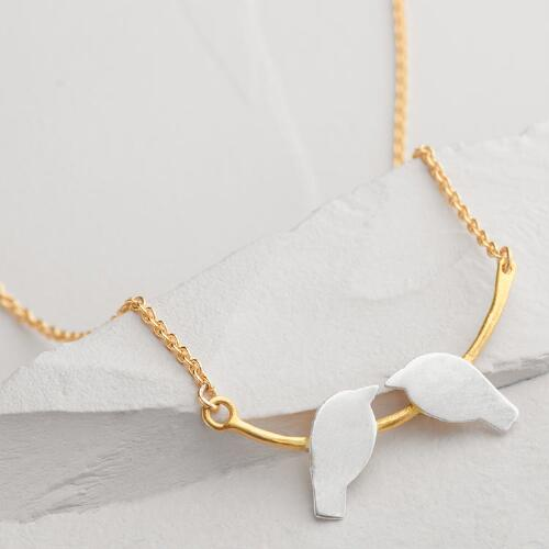 Silver and Gold Birds Kissing Necklace