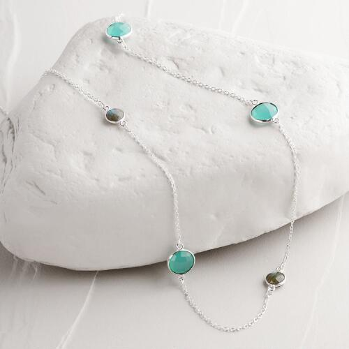 Silver, Labradorite and Aquamarine Necklace