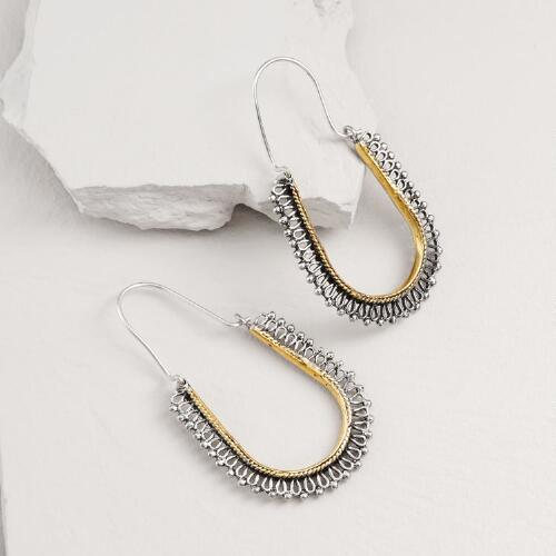 Gold and Silver Indian Hoop Earrings