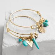 Gold and Turquoise Charm Bangle Bracelets, 2-Piece