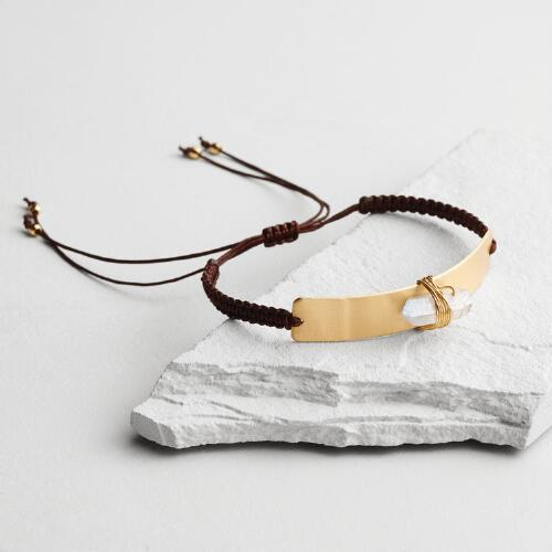 Gold and Quartz Bar Bracelet