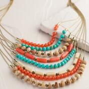 Turquoise and Coral Bead Layered Necklace
